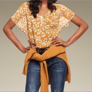 Cabi Thrive Butterscotch Floral Layered Blouse